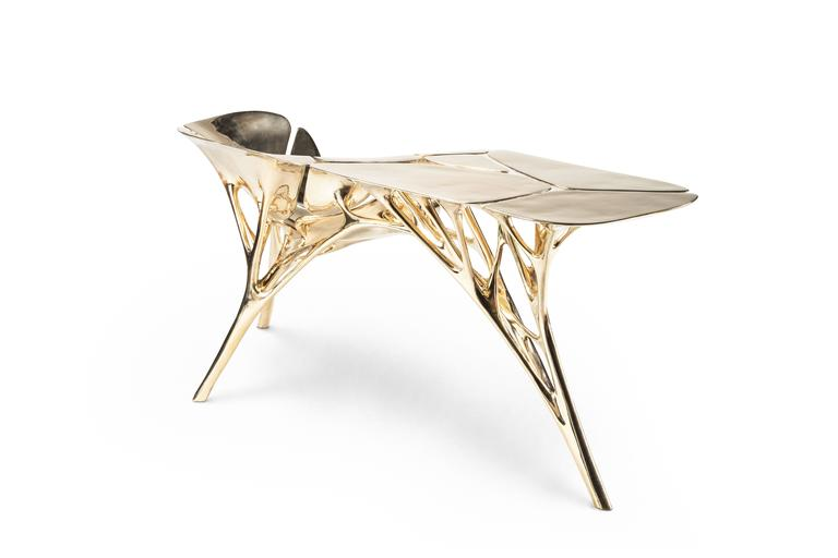 Polished Brass Lotus Console Table/Telephone Table/Entryway Table in Gold Color For Sale 2