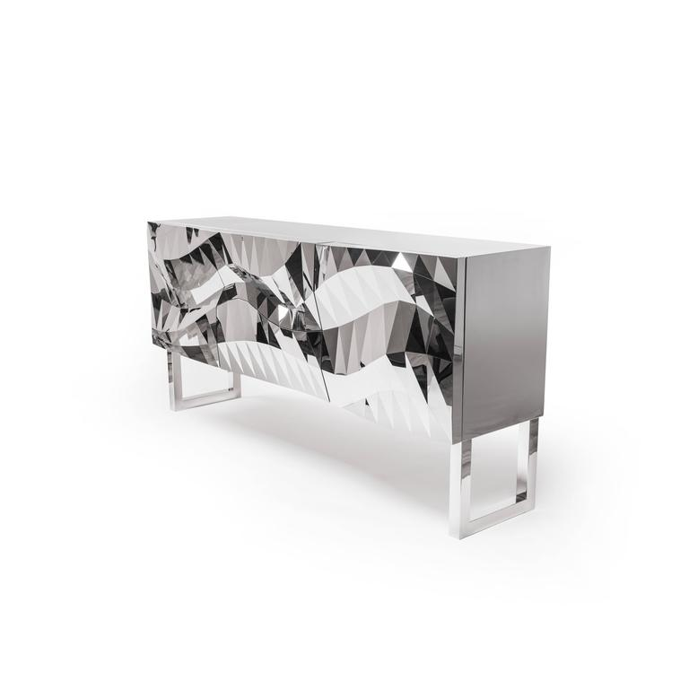 Chinese Mirror-Finished Stainless Steel Cabinet/Credenza/Buffet Mesh Obejct #MS-C03 For Sale