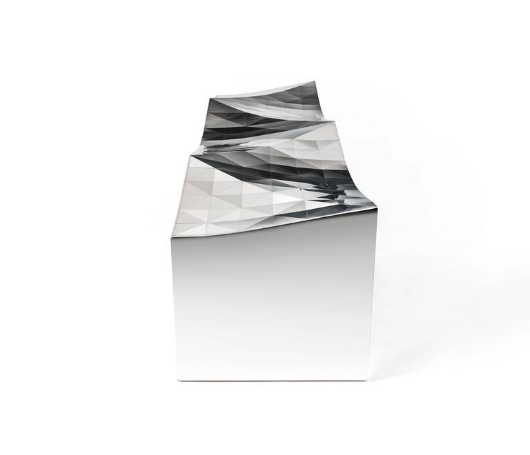 Chinese Wave Bench Indoor Outdoor in Mirror Finish Stainless Steel by Zhoujie Zhang For Sale