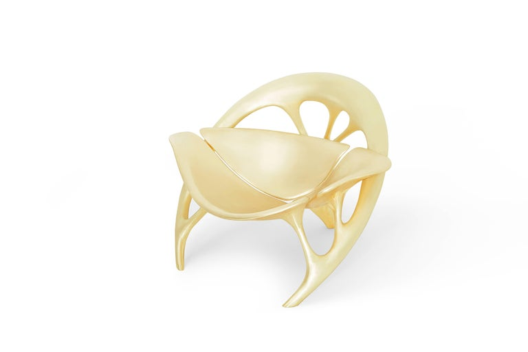 Brushed Lotus Lounge Chair 'Brass' by Zhipeng Tan For Sale