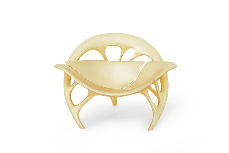 Lotus Lounge Chair 'Brass' by Zhipeng Tan In New Condition For Sale In Los Angeles, CA