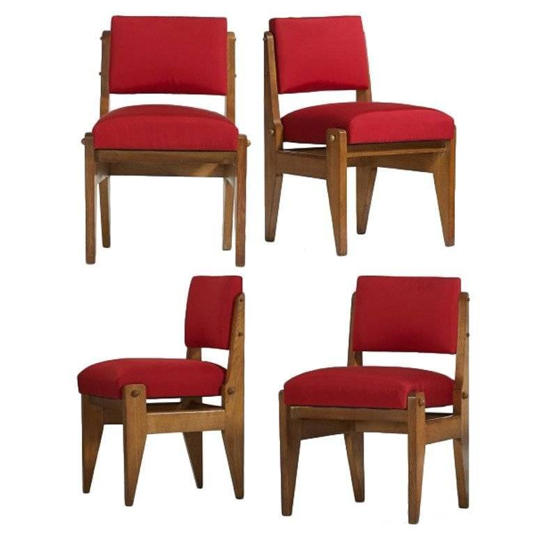 Rare Set of Four French Modernist Chairs, 1950