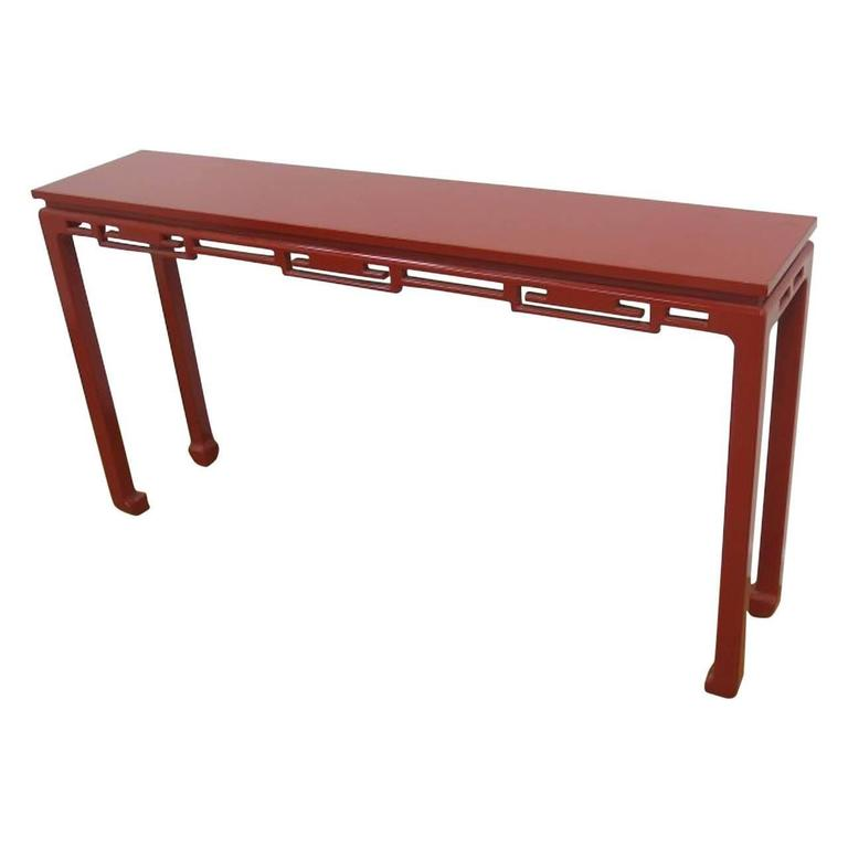 Mid-Century Modern Red Lacquered Asian Style Console