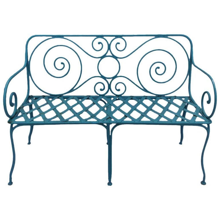 Hand-Forged Iron Garden Bench, Provence Region, France, 1920