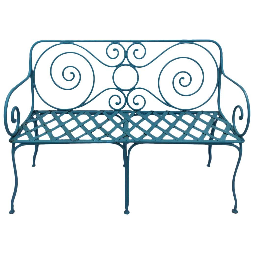 Delicieux Hand Forged Iron Garden Bench, Provence Region, France, 1920 For Sale
