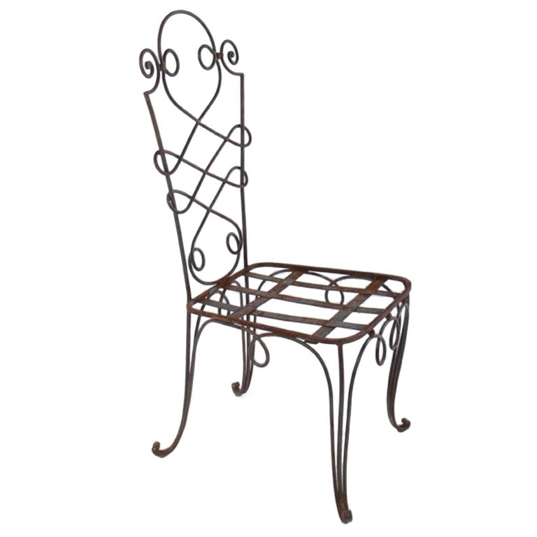 René Prou Iron Side Chairs, France, 1940