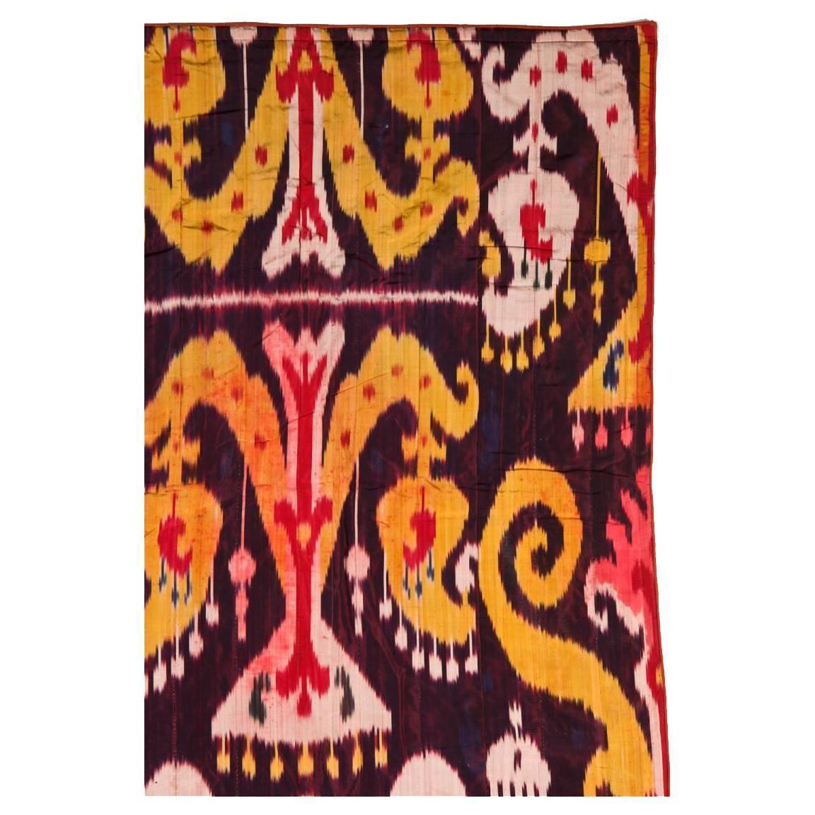 Antique Uzbek Silk Ikat Panel at 1stdibs