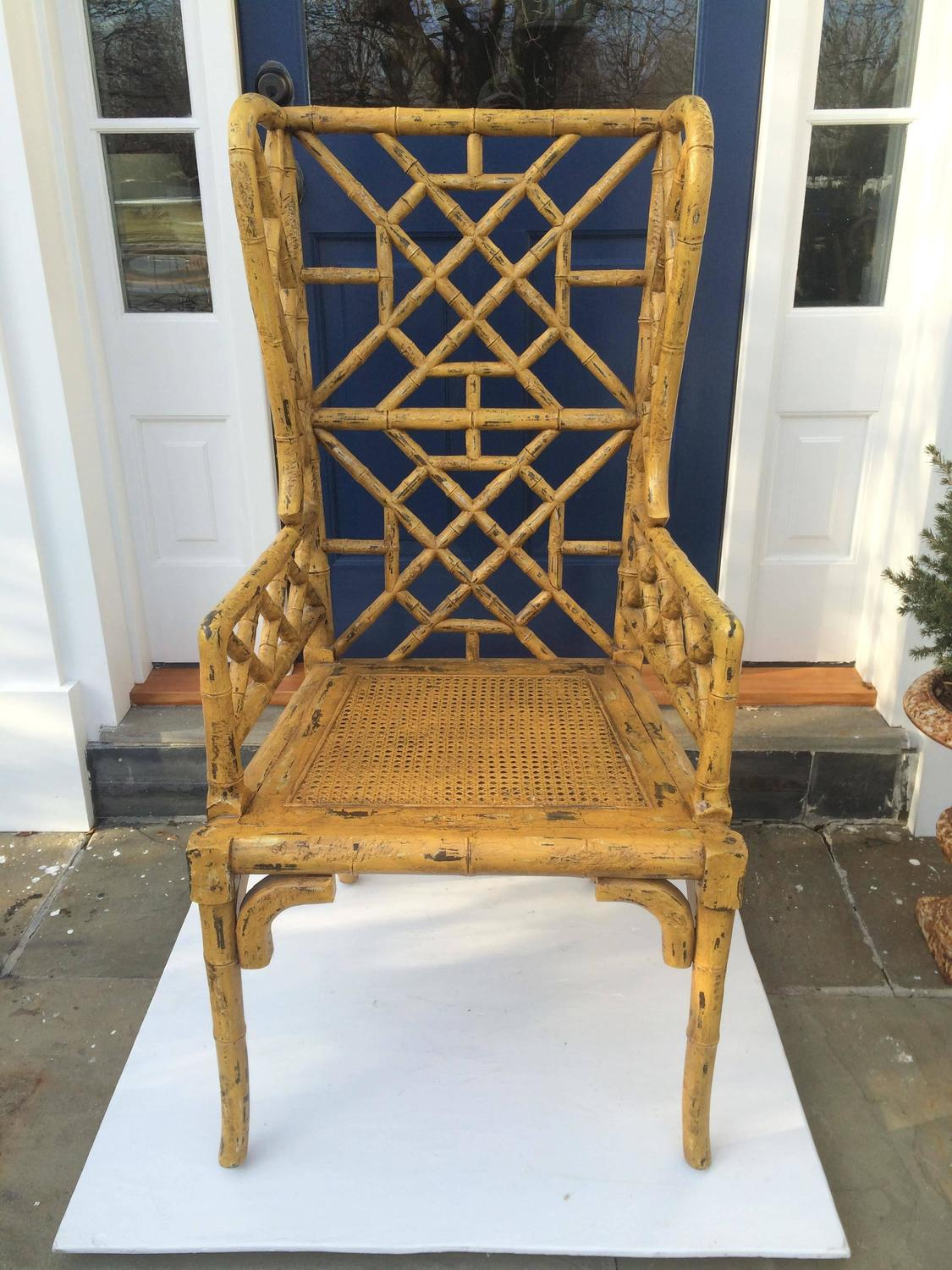 Pair Of Chinoiserie Wingback Chairs For Sale At 1stdibs