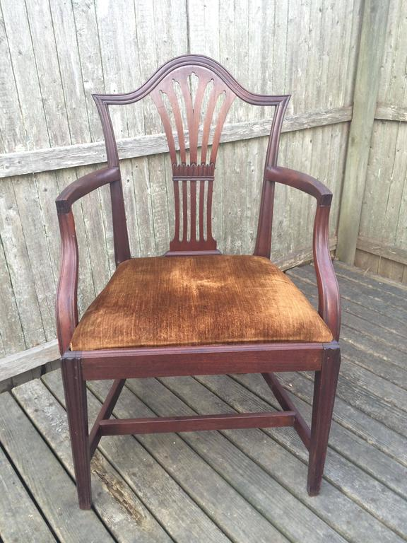 Mahogany armchair, silk velvet upholstered seat. England, circa, 1780.