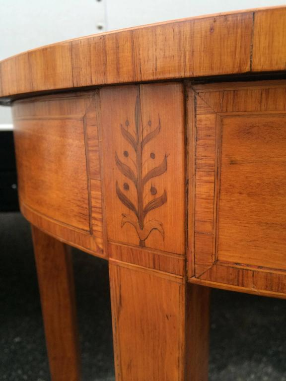 Inlay Late 18th Century Inlaid Demilune Pier Table For Sale