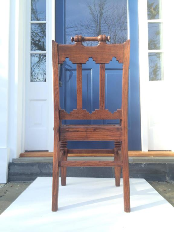 Carved English Oak Hall Chair For Sale