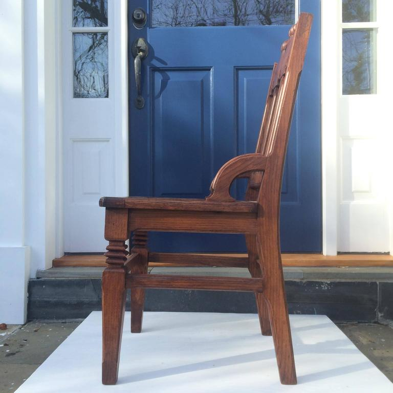 Gothic Revival English Oak Hall Chair For Sale