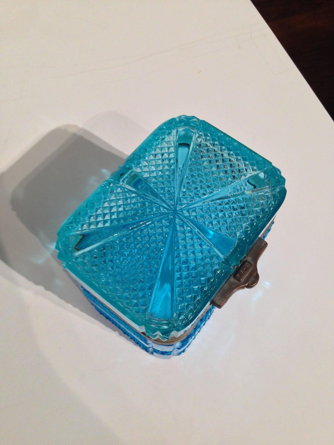 Russian Pressed Glass Tea Caddy For Sale at 1stdibs