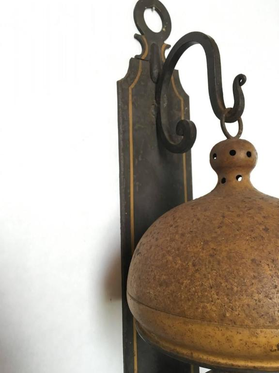 Large Iron Wall Sconces : Large Tole Painted Iron Wall Sconce For Sale at 1stdibs
