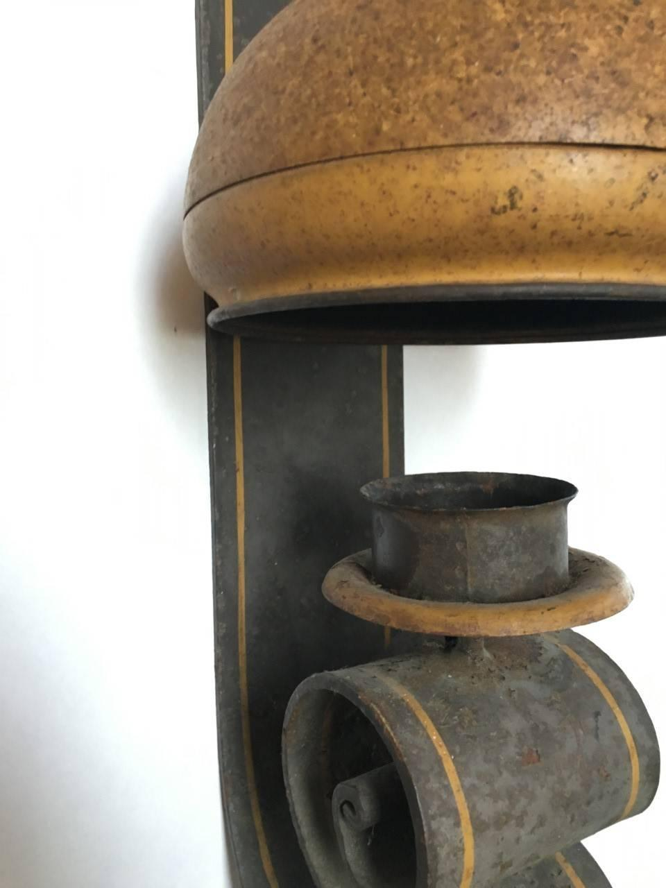 Large Metal Wall Sconces : Large Tole Painted Iron Wall Sconce For Sale at 1stdibs