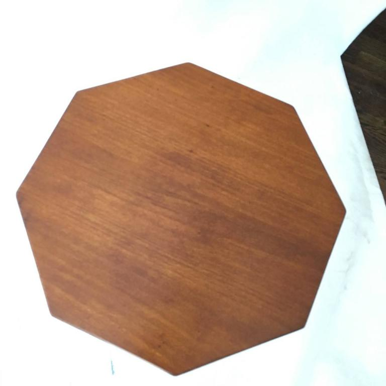 19th century Continental fruitwood octagonal top candle stand/ occasional table.