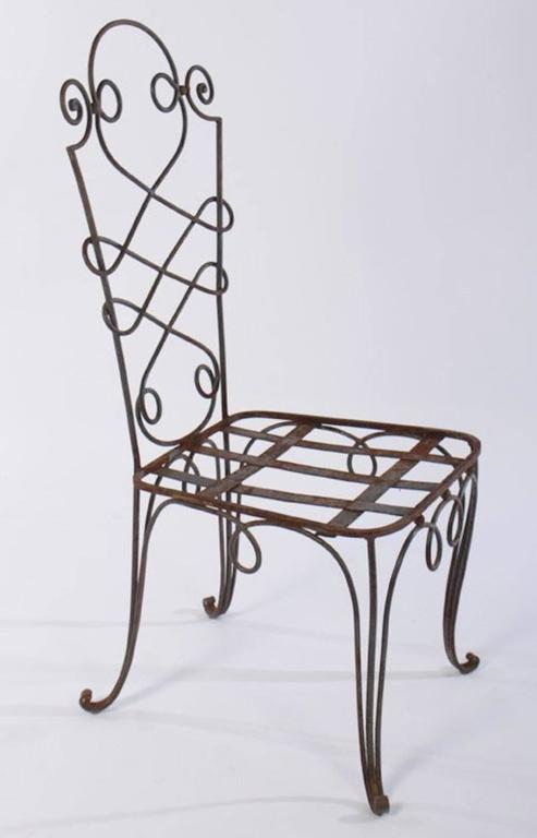 René Prou Iron Chairs, France 1940 (Set of Eight) In Good Condition For Sale In Southampton, NY