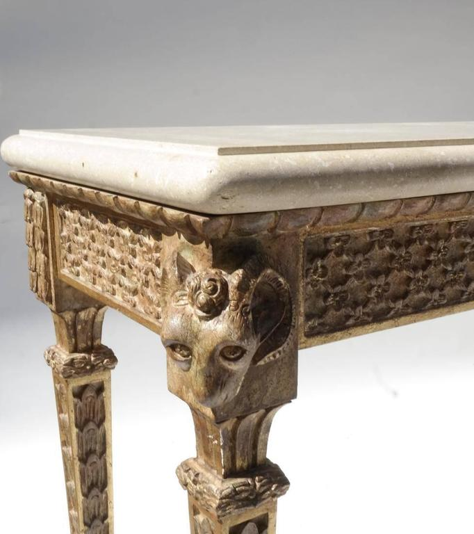 A Largescale Hall Table In The Italian Style Carved Frame Including Ramu0027s Head