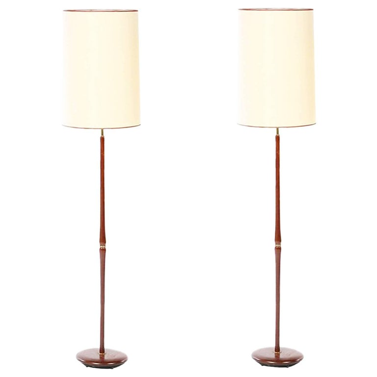 Pair of Swedish Floor Lamps in Mahogany and Brass, 1960