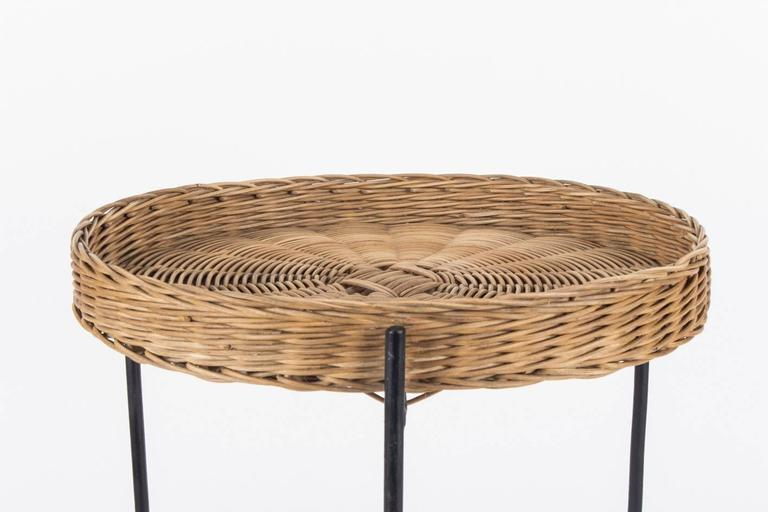 Good Midcentury Carl Auböck Wicker Side Table, Vienna, 1950s 2