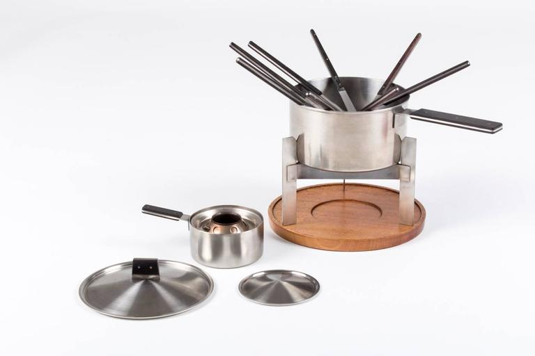 Puristic Fondue-Set by Carl Auböck for Amboss Austria, Vienna, 1960s In Excellent Condition For Sale In Vienna, Vienna