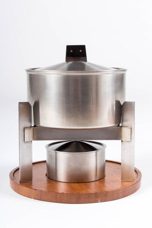 Mid-Century Modern Puristic Fondue-Set by Carl Auböck for Amboss Austria, Vienna, 1960s For Sale