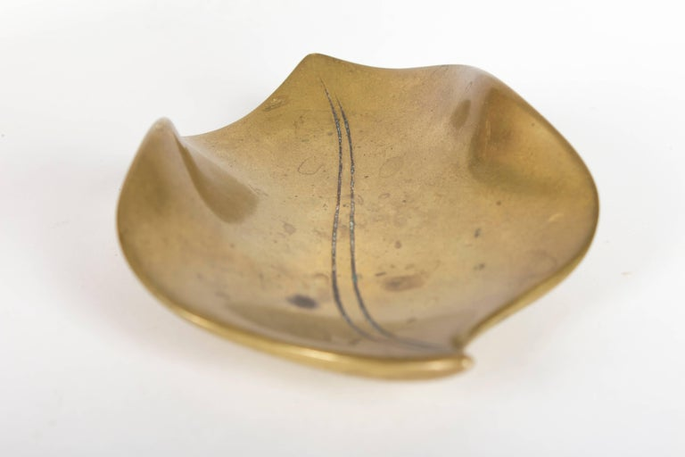 Rare Pre War Solid Brass Auböck Leaf Ashtray, Vienna, 1930s For Sale 1