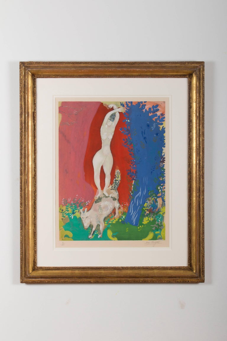 Titled with ''Femme de Cirque'' or simply 'Circus Woman' in English, the work as printed on vélin paper by Arches according to the instructions of the Artist by Guy Spitzer. Hand signed in pencil on the lower right 'Marc Chagall' and numbered on the