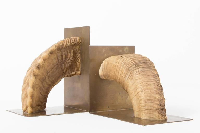 Pair of Auböck, Midcentury Brass and Horn Bookends For Sale 2