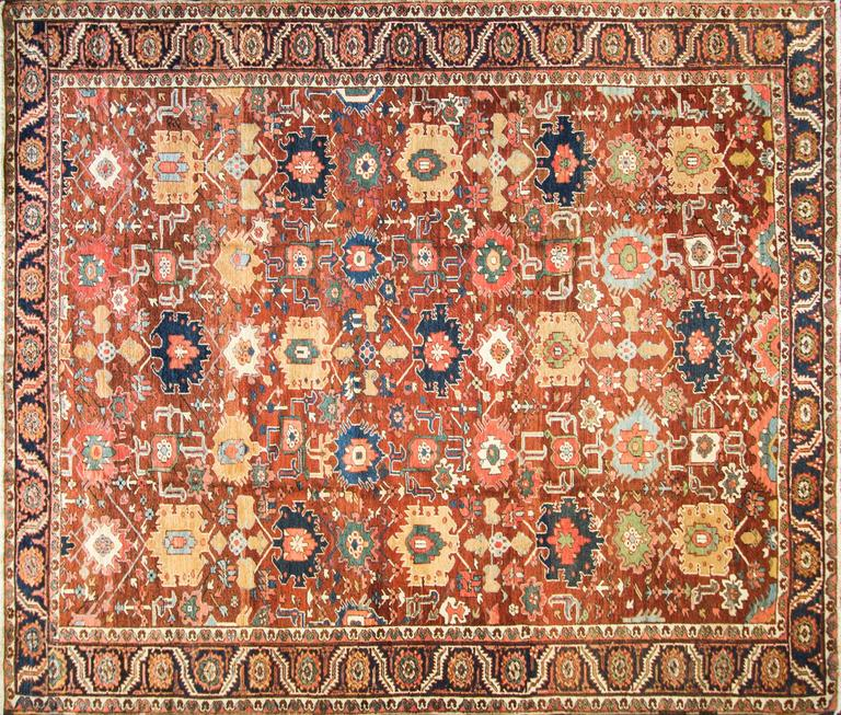 "Unusual Serapi carpet with all-over design and large motives very decorative. Measures: 10.6"" x 12"".