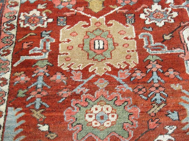 Hand-Woven Unusual Serapi Carpet For Sale