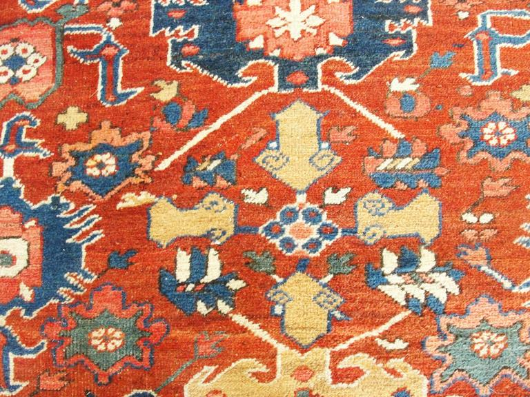 Early 20th Century Unusual Serapi Carpet For Sale