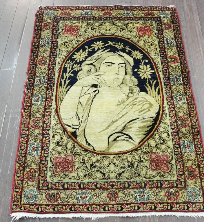 Antique Pictorial Kermanshah Rug For Sale At 1stdibs