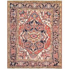 "Antique Persian Serapi Rug, 4'11"" x 6'3"""