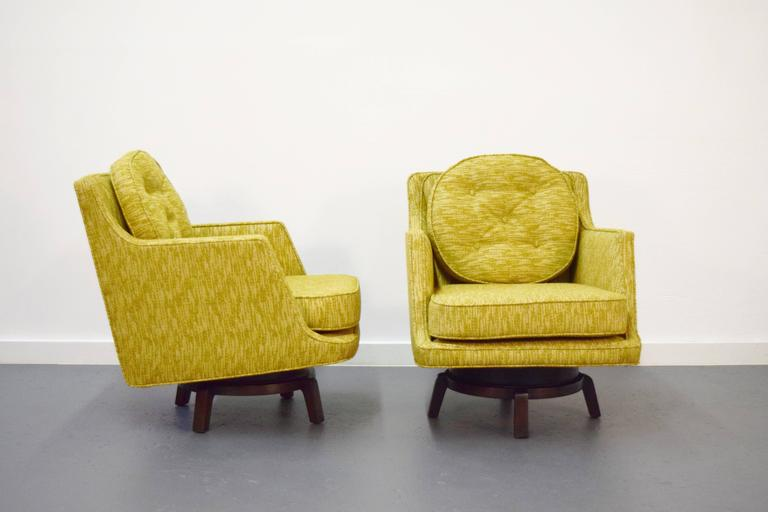 Pair of Edward Wormley swivel lounge chairs for Dunbar.