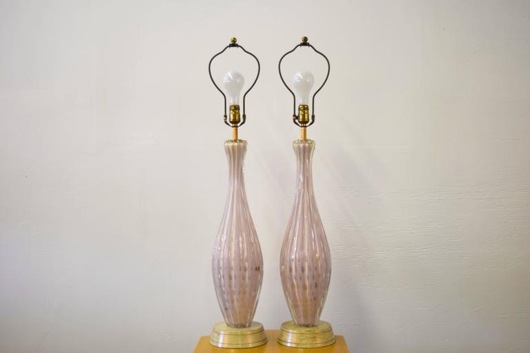 Pair of Italian Barovier e Toso Murano Table Lamps 2