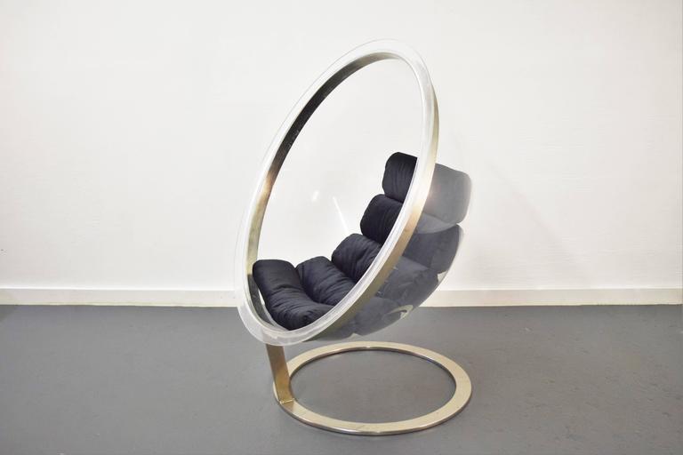 Bubble lounge chair by Christian Daninos.  New upholstery in black soft velvet.