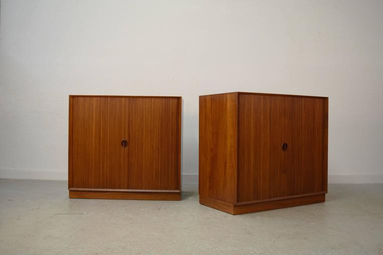 Danish Pair of Tambour Chests by Peter Hvidt & Orla Mølgaard Nielsen For Sale