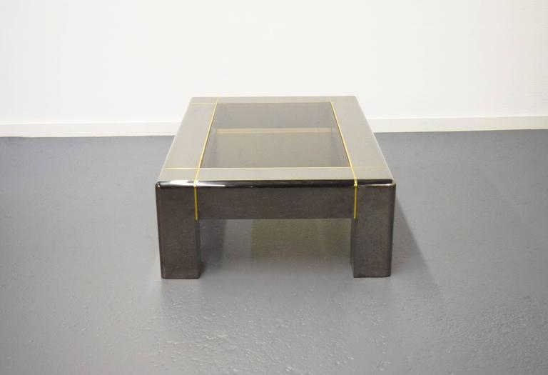 Karl Springer Gunmetal and Smoked Glass Coffee Table In Excellent Condition For Sale In Middlesex, NJ