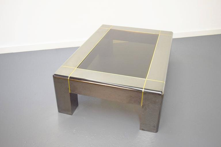 20th Century Karl Springer Gunmetal and Smoked Glass Coffee Table For Sale