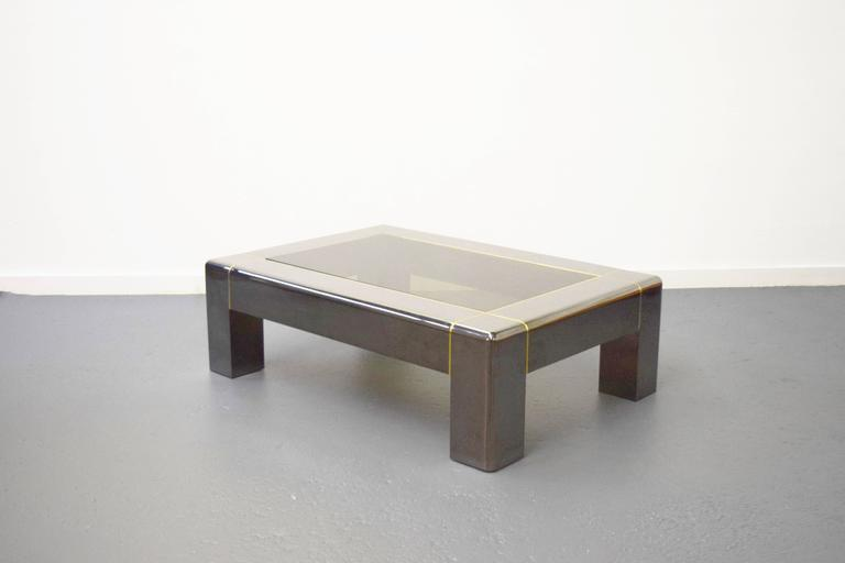 Mid-Century Modern Karl Springer Gunmetal and Smoked Glass Coffee Table For Sale