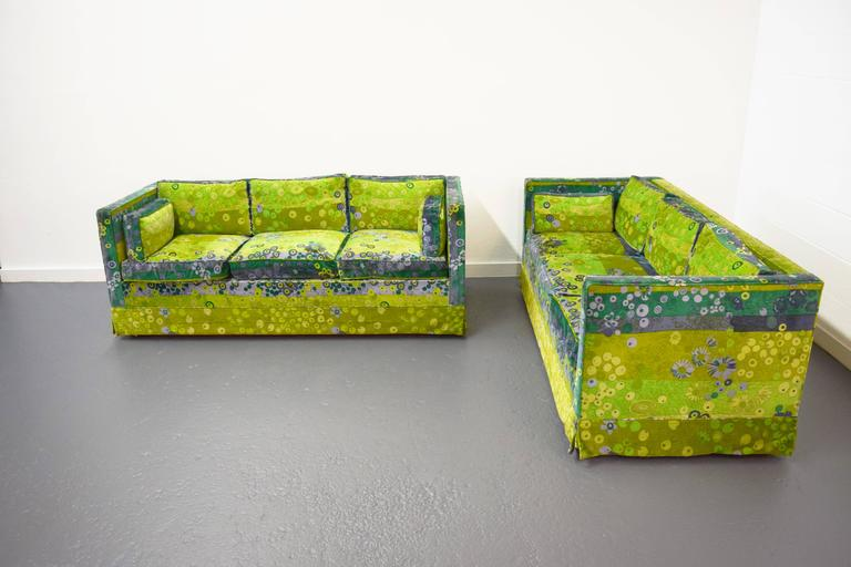 Pair of Mid-Centurybox sofas with original Jack Lenor Larsen fabric.