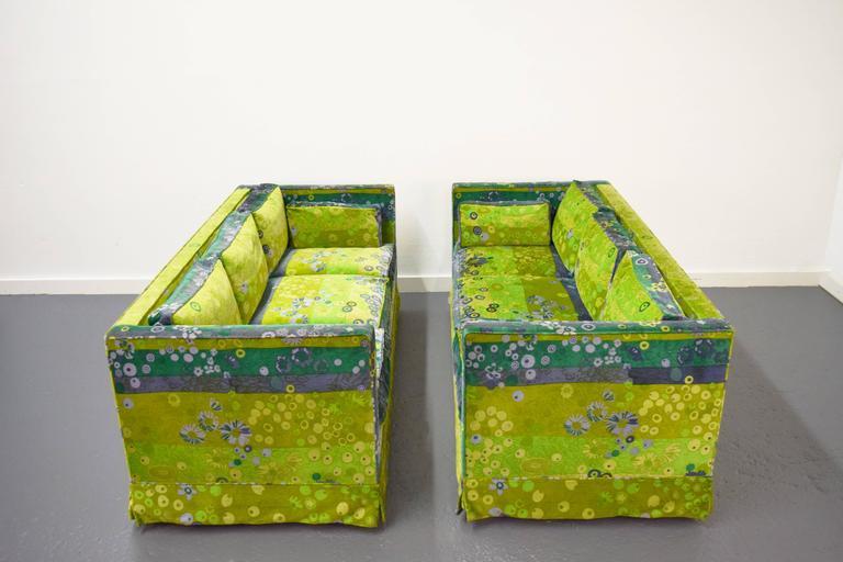 Mid-Century Modern Pair of Mid-Century Box Sofas with Original Jack Lenor Larsen Fabric For Sale