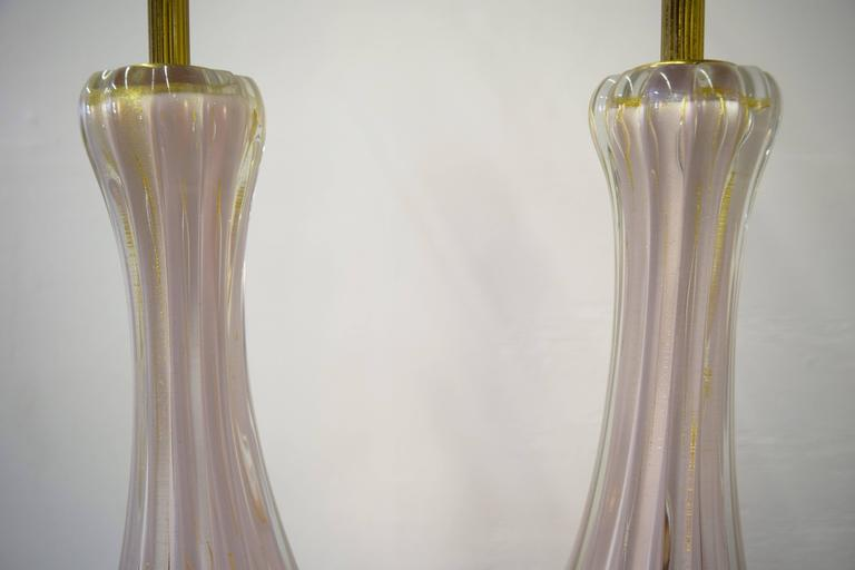 Pair of Italian Barovier e Toso Murano Table Lamps 5