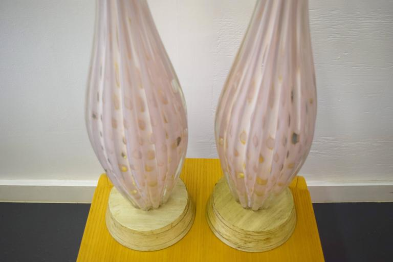 Pair of Italian Barovier e Toso Murano Table Lamps 6