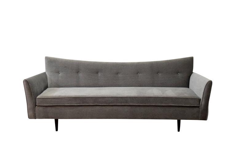 Paul McCobb Pagoda Sofa. Upholstered with new foam and velvet fabric.