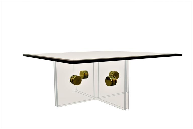Mid-Century Modern Lucite and Brass Bolt Coffee Table For Sale