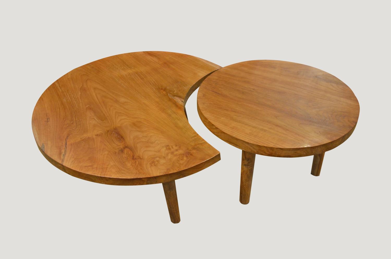 Mid century organic teak wood coffee side table for sale - Organic wood coffee table ...