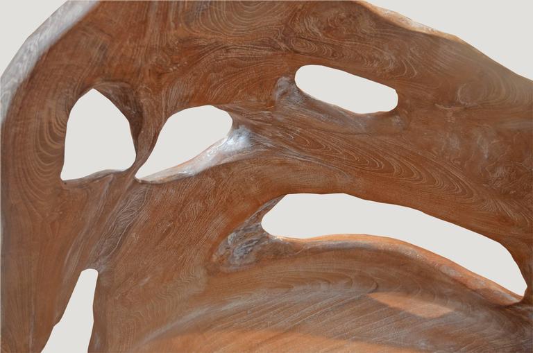 Organic Teak Wood White Wash Bench At 1stdibs