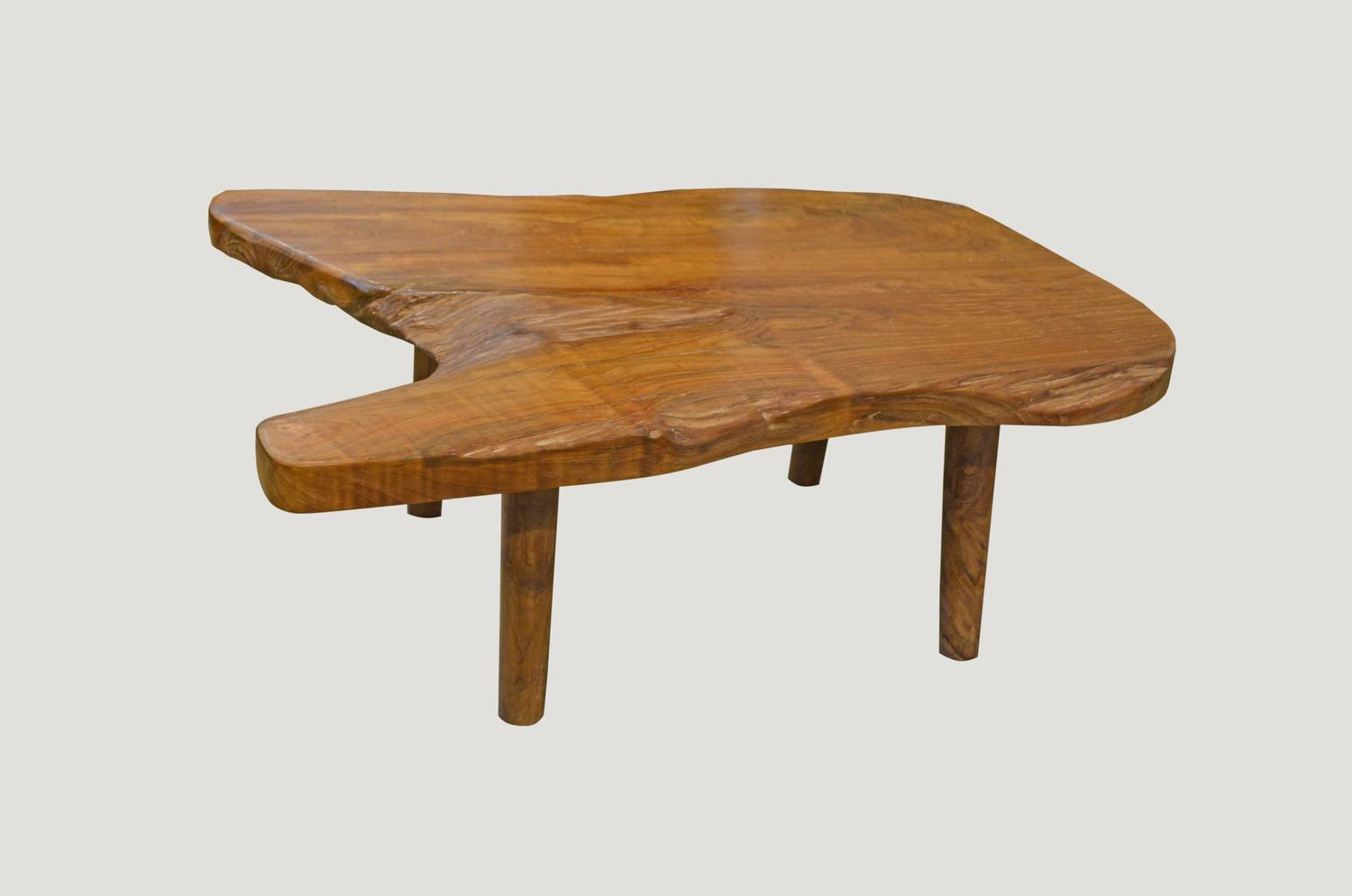 Mid Century Style Organic Teak Wood Coffee Table Or Side Table For Sale At 1stdibs